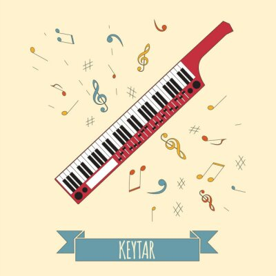 Poster Molde gráfico dos instrumentos musicais. Keytar.
