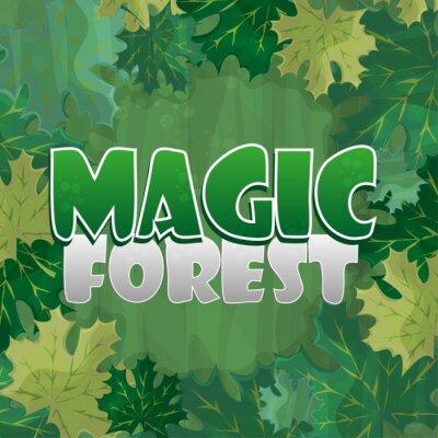 Poster Moldura para decoração de texto. Floresta encantada com folha de bordo verde - desenho animado
