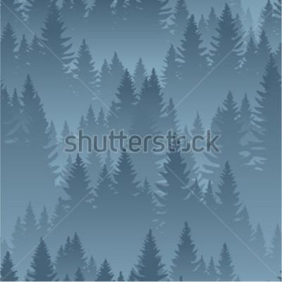 Poster montanhas de vetor floresta fundo textura sem costura padrão