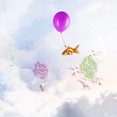Poster Mosca do peixe dourado no balão