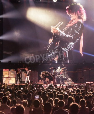 Poster MOSCOVO, RÚSSIA - 24 de maio de 2014 - banda de rock Aerosmith amerocan executa no Olimpiysky em 24 de maio de 2014 em Moscou