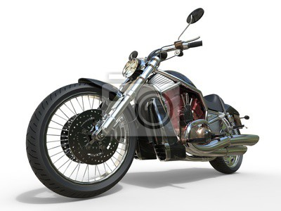 Poster Motocicleta poderosa do vintage - motor vermelho