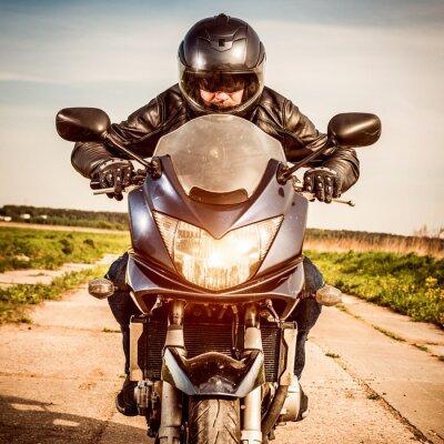 Poster Motociclista, correndo, estrada