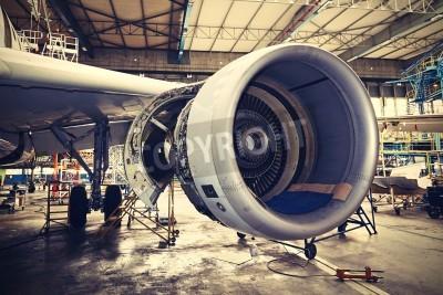 Poster Motor do avião sob manutenção pesada