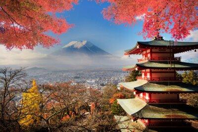 Poster Mt. Fuji com cores da queda no Japão.