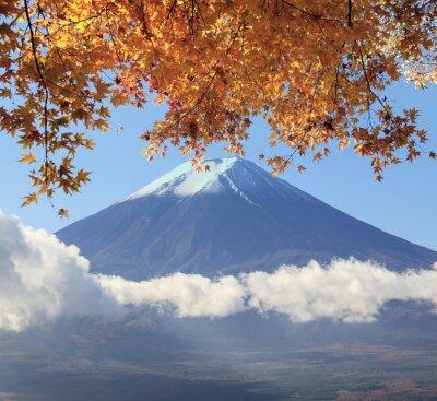 Poster Mt. Fuji com cores da queda no Japão