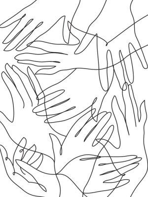 Poster Muitas mãos linha arte desenho