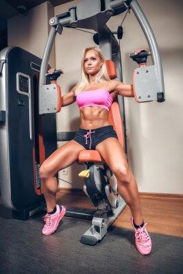 Poster mulher atraente na ginástica na máquina de treino