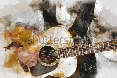 Poster Mulher bonita abstrata que joga o guitarrista no primeiro plano. A arte da animação e a ilustração digital da arte.