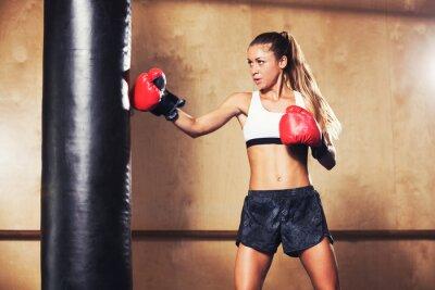 Poster Mulher bonita boxe com luvas vermelhas