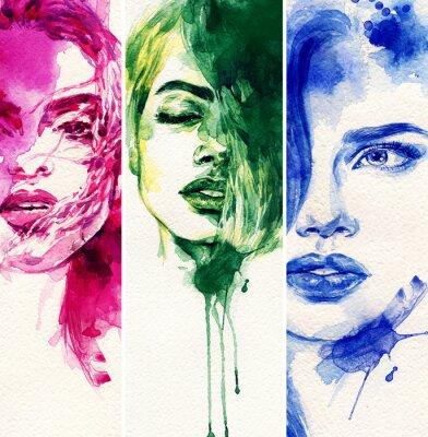Poster Mulher bonita. ilustração da aguarela
