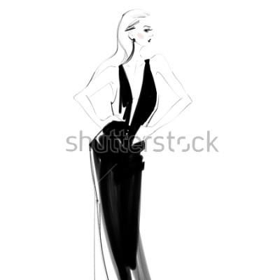 Poster Mulher bonita no vestido preto desenho isolado. Jovem garota glamour Desenho de moda.