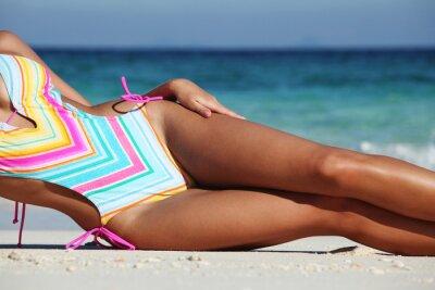 Poster Mulher, deitando, praia