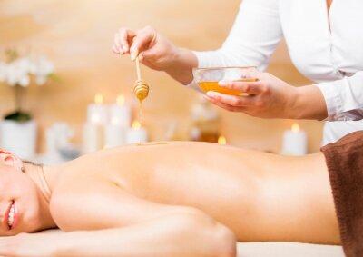 Poster Mulher, desfrutando, spa, tratamento, mel