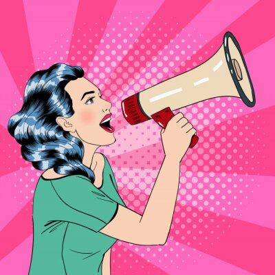 Poster Mulher do estilo do pop art com megafone