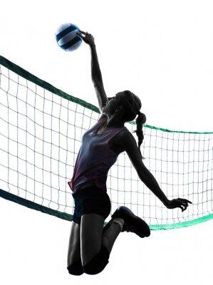 Poster Mulher do jogador de vôlei isolado silhueta