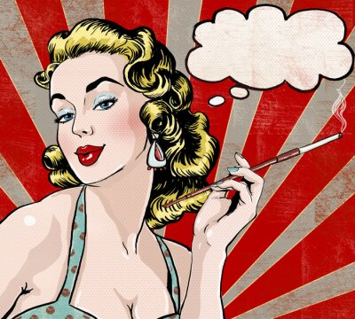 Poster Mulher do pop art com a bolha do discurso e do cigarro.