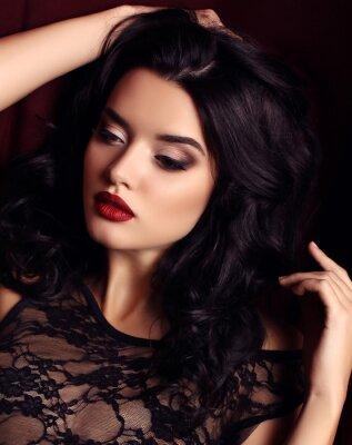 Poster Mulher, escuro, cabelo, noite, maquiagem, desgaste, luxuoso, pretas, laço, vestido