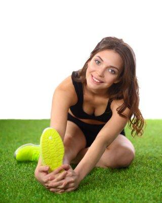 Poster Mulher, esticar, exercícios, verde, capim