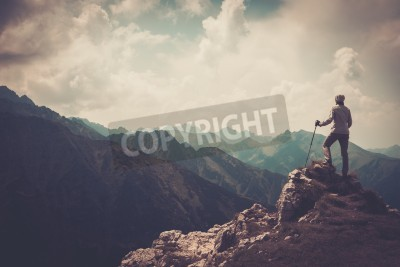 Poster Mulher, excursionista, topo, montanha