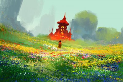 Poster Mulher, flor, campos, logo, vermelho, castelo, montanha