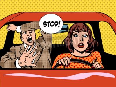 Poster Mulher, motorista, dirigindo, escola, pânico, calma, retro, estilo, pop art. Carro e transporte
