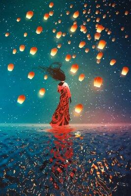 Poster Mulher, vestido, ficar, água, contra, lanternas, flutuante, noturna, céu ...