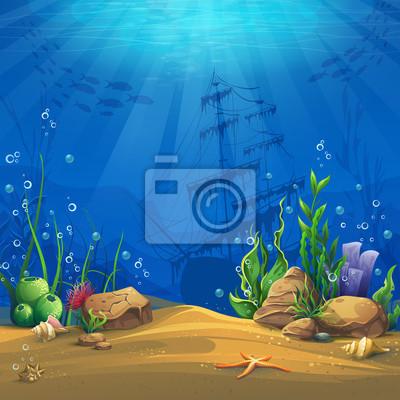 Poster Mundo subaquático vector background ilustração