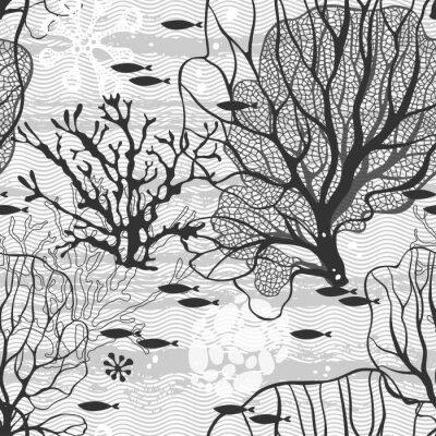 Poster Mundo submarino. Seamless, vetorial, Padrão, mar, plantas, peixe