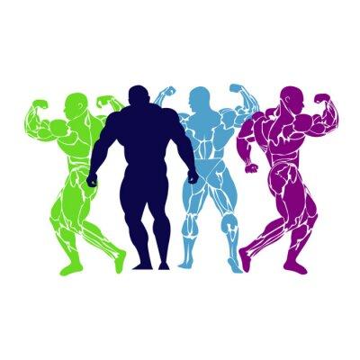 Poster Musculação, levantamento de energia, ícone, vetor, plano