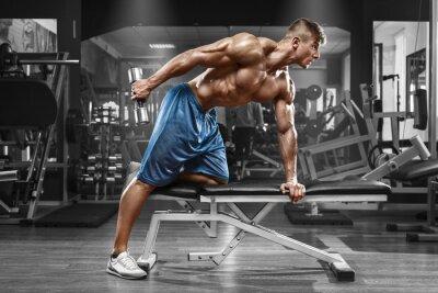 Poster Muscular, homem, trabalhando, ginásio, fazendo, exercícios, Dumbbells, triceps, forte ...