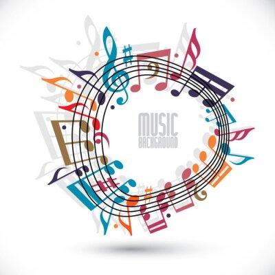 Poster Música de fundo colorido com clef e notas, folha de música em ro