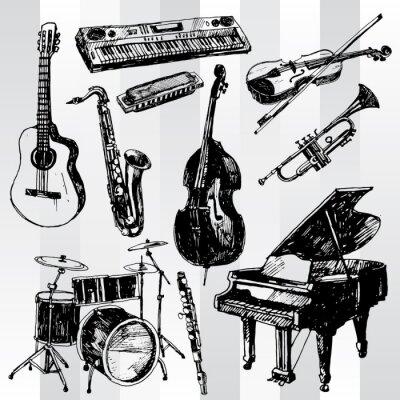 Poster Música Instrumentos Hand Drawn