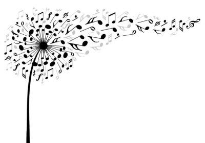Poster música-leão flor, ilustração vetorial