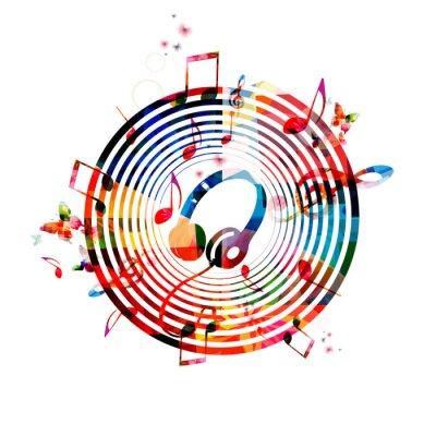 Poster Música, notas, fundo, fones