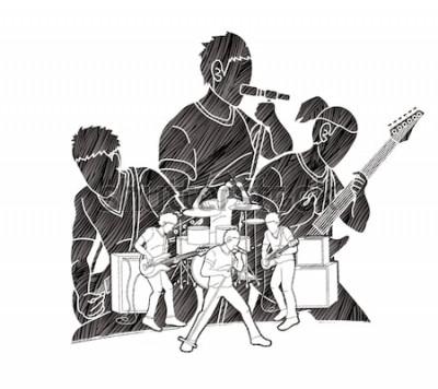 Poster Músico tocando música juntos, banda de música, artista gráfico vetorial