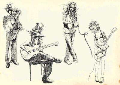 Poster músicos - coleção de desenhos a mão em vetor