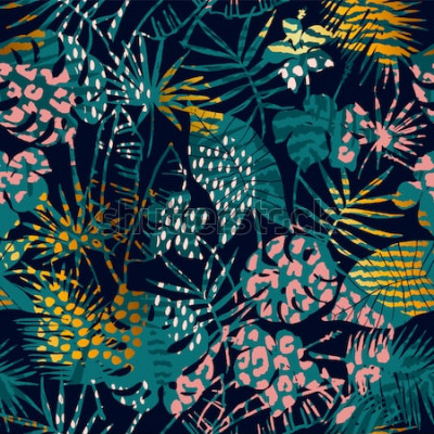 Poster Na moda sem costura padrão exótico com plantas tropicais e estampas de animais. Ilustração vetorial Design abstrato moderno para papel, papel de parede, capa, tecido, decoração de interiores e outros