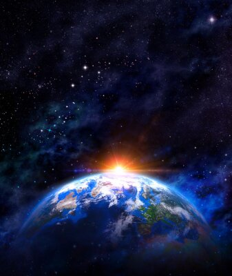 Poster Nascer do sol sobre a terra no espaço sideral