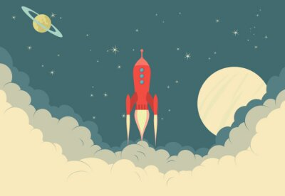 Poster Nave espacial de Rocket retro