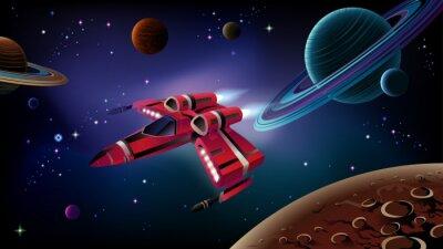Poster Nave espacial, planetas e espaço.