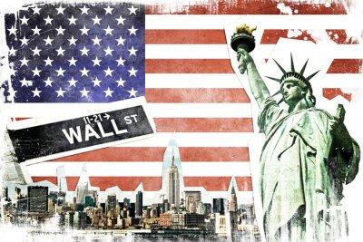 Poster New York City colagem do vintage, fundo da bandeira dos EUA