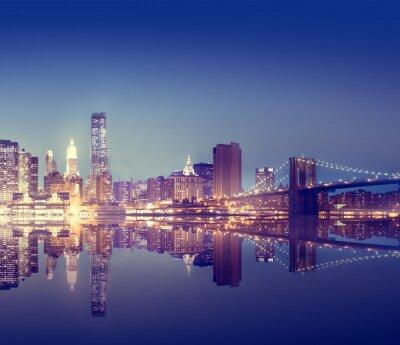 Poster New York City Lights Scenic Conceito Bridgeview