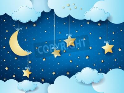 Poster Noite surreal, scape da nuvem da fantasia. Vector a ilustração