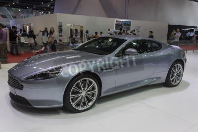 Poster NONTHABURI, THAILAND - APRIL 2:The Aston Martin New DB9 Coupe car show on display at the 35th Bangkok International Motor Show 2014 on  April 2, 2014 in Nonthaburi, Thailand.