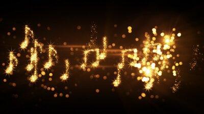 Poster Notas musicais brilhantes e fogos de artifício