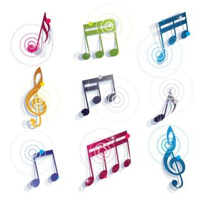 Poster Notas musicais ícones ajustados.