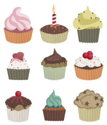 Poster Nove cupcakes. Vector a ilustração de nove deliciosos cupcakes.