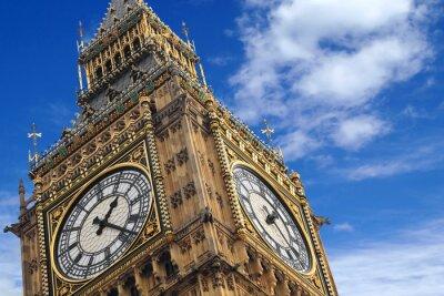 Poster O Big Ben fechar-se em um céu azul, Inglaterra Reino Unido