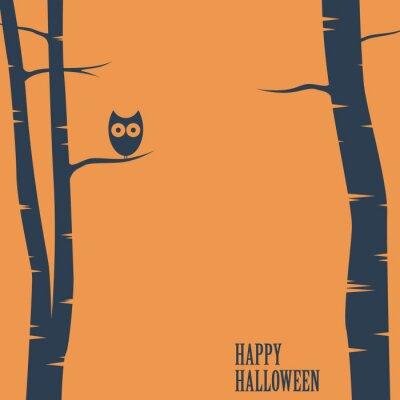 Poster O Dia das Bruxas feliz com a coruja que senta-se na árvore. Cartão do feriado